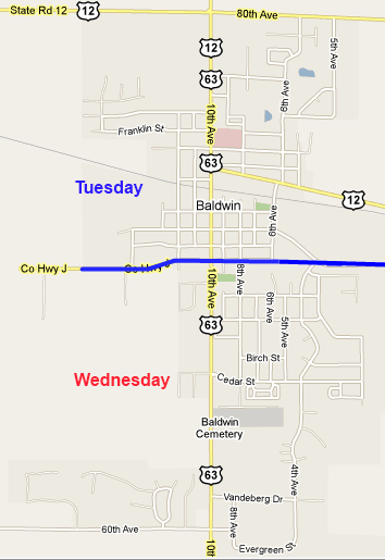map of Baldwin pick up services